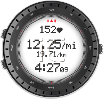 Royalty Free Clipart Image of a Digital Fitness Watch With a Heart Rate Monitor