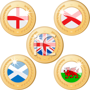Royalty Free Clipart Image of United Kingdom Gold Medals