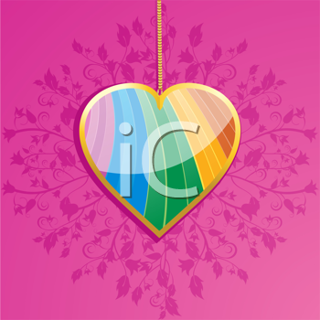 Royalty Free Clipart Image of a Heart Pendant on a Pink Floral Background