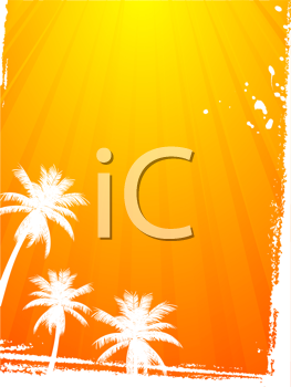 Royalty Free Clipart Image of Abstract Palm Trees With Summer Sunset Rays