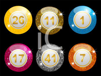 Royalty Free Clipart Image of Sparkling Lottery Disco Balls