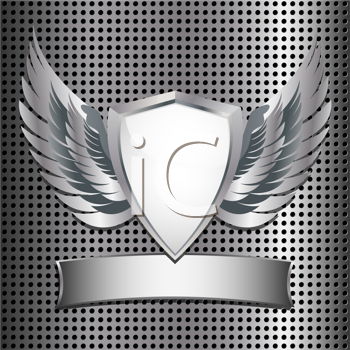 Royalty Free Clipart Image of a Metallic Shield on a Metal Grid