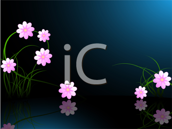 Royalty Free Clipart Image of a Pink Flowers in a Pond
