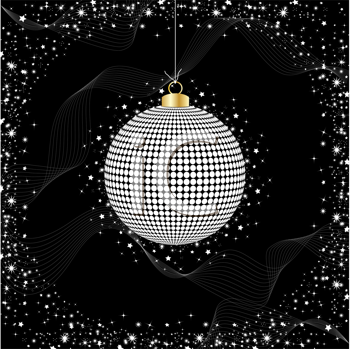 Royalty Free Clipart Image of a Sparkling Christmas Bauble