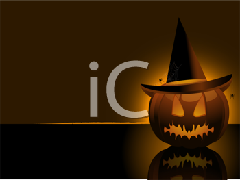 Royalty Free Clipart Image of a Pumpkin With a Witch Hat and Spiders