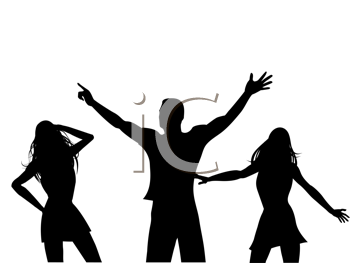 Royalty Free Clipart Image of a Silhouette of Dancers