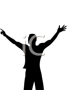 Royalty Free Clipart Image of a Silhouette of a Man Dancing