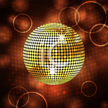 Royalty Free Clipart Image of a Sparkling Gold Disco Ball Background