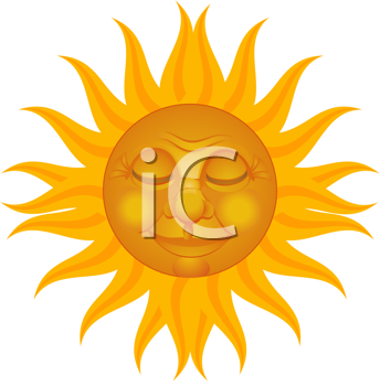 Royalty Free Clipart Image of a Sun With a Smiling Face