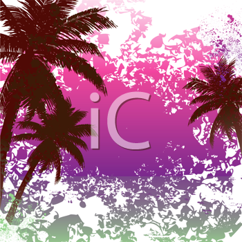 Royalty Free Clipart Image of a Grunge Tropical Background