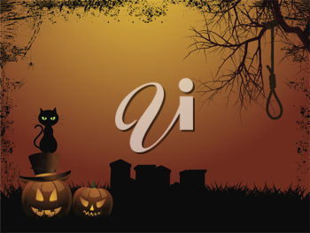Halloween background with pumpkins, graveyard, tree and hangmans noose