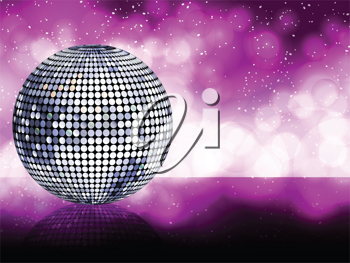 sparkling silver disco ball on a glowing purple background