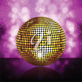 Gold disco ball reflected on a glossy surface against a glowing purple background