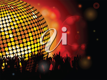 Glowing disco ball and crowd background with glowing lights