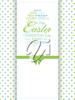 Easter Panel Background with Easter Message, Bow and Polka Dot