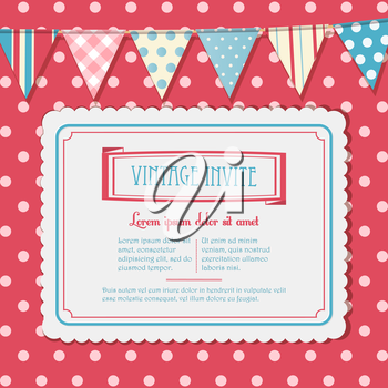 Vintage Vector Invite on a Pink Polka Dot Background with Bunting
