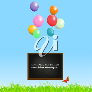 Blackboard with Sample Text and Balloons on a Blue Sky Background