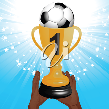 Football Trophy in Man Hands with Ball and Number One over a Blue Sparkling Background
