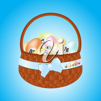 Brown Easter Basket with Ribbon and Bow Filled with Bingo Eggs Background