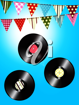 Three Vinyl Records with Vintage Label and Vintage Bunting Over Blue Sky Background