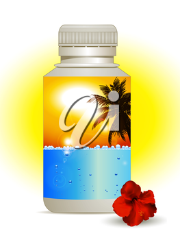 Plastic Bottle with Colorful Label with Blue Sea and Bubbles and Sunny Yellow Sky with Palm Tree and Hibiscus on the Side
