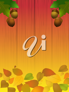 Autumn Acorns and Leafs Over Shaded Wood Background