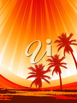 Abstract Silhouette of Palm Trees Over Yellow and Red Sunny Summer Background