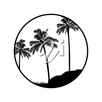 Palm Trees Black Silhouette Forest In a Circular Border Over With Trees Rock and Grass
