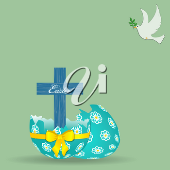 Wooden Blue Cross With Easter Decorative Text Coming Out From Broken Decorated Easter Egg With Yellow Bow And Ribbon Over Light Green Background With White Dove Holding An Olive Branch