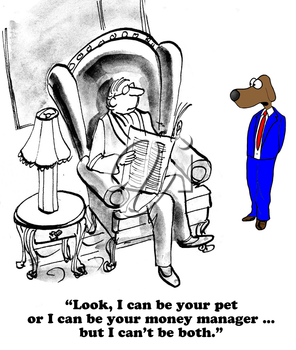 Royalty Free Clipart Image of a Dog Talking to His Human
