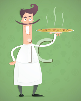 Royalty Free Clipart Image of a Man Holding a Pizza