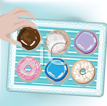 Royalty Free Clipart Image of a Hand Reaching for a Doughnut