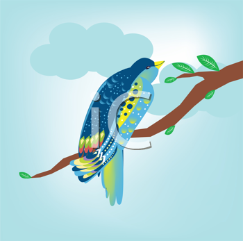 Royalty Free Clipart Image of a Bird on a Tree