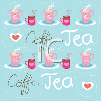 Royalty Free Clipart Image of a Coffee and Tea Background