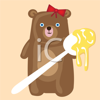 Royalty Free Clipart Image of a Bear With Honey
