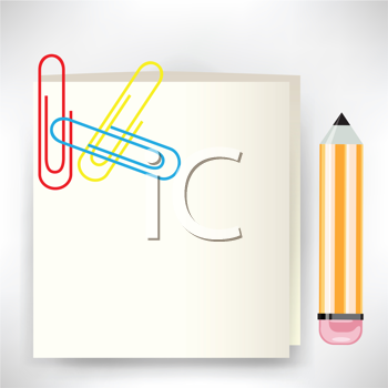 Royalty Free Clipart Image of a Notebook, Pencil and Paperclips