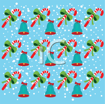 Royalty Free Clipart Image of a Bell and Candy Cane Background
