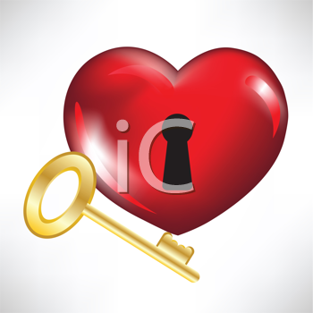 Royalty Free Clipart Image of a Heart and Key