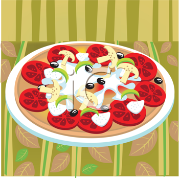 Royalty Free Clipart Image of a Pizza