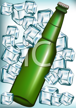 Royalty Free Clipart Image of a Bottle and Ice