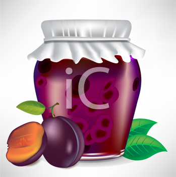 plums jar of jam with fruit