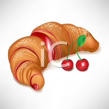 croissant with cherry jam filling isolated