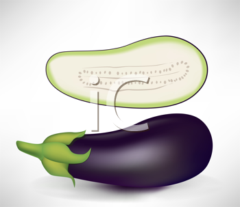 realistic aubergines, half and whole