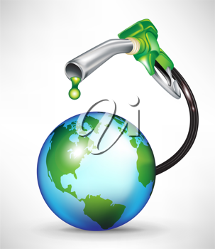 gas pump droppping green oil onto earth planet