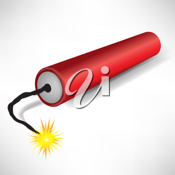 single exploding dynamite on white background