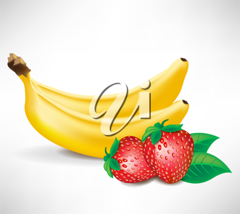 fresh strawberries with leaves and two bananas isolated on white