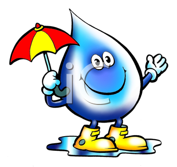 Royalty Free Clipart Image of a Raindrop With an Umbrella