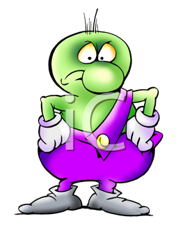 Royalty Free Clipart Image of a Dissatisfied Alien