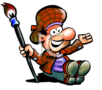 Royalty Free Clipart Image of a Man With a Paintbrush