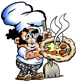 Royalty Free Clipart Image of a Pizza Chef With a Pizza